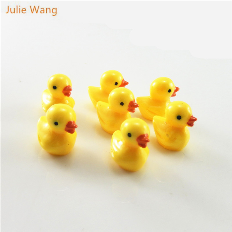 Julie Wang 10pcs Cartoon Resin Yellow Cute Duckling Charms Hanging DIY Duck Style Pendants Decorate Handmade Jewelry Accessories