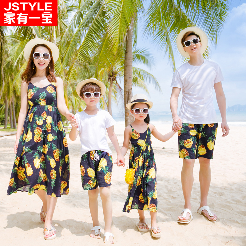 famliy beach clothing pineapple matching mother daughter