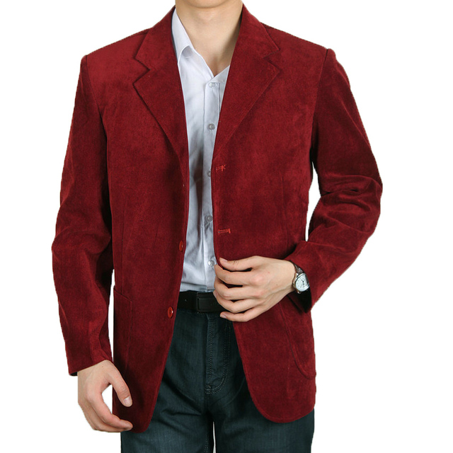 WAEOLSA Men Corduroy Blazer Red Yellow Navy  Blue Jacket Suits Man Loop Velvet Blazer Male Spring Autumn Jacket Suit Father Wear