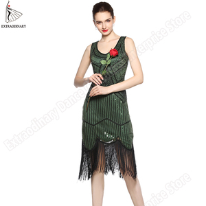 Image 2 - Women Party Dress 1920 s Great Gatsby Flapper Vestidos Sequin Bead Fringe Dress Evening V Neck Embellished Fringed Sleeveless
