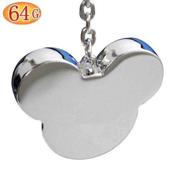 2.0 Real Mickey Head 8GB/16GB/32GB/64GB USB Flash Memory Pen Drive 128GB 512 GB Cute Gift Pendrive 512GB Keychain Card Stick