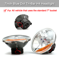 1 Pair of 7 12V Tri Bar Blue Dot H4 Headlight LED Headlight With Amber Turn Signal Lamp For Chevy Ford