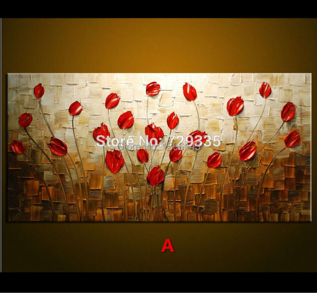 Hand Painted Palette Knife Oil Painting Thick Paint Red