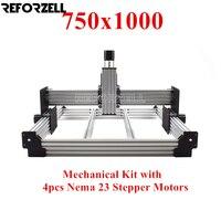 750mm x 1000mm WorkBee Máquina CNC Router kit CNC Moagem kit Mecânico com 23 4 pcs Nema stepper motores