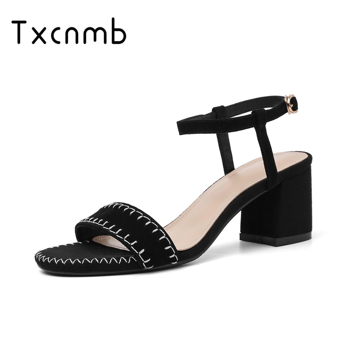 TXCNMB 2019 été nouvelle mode sandales femmes Style femmes sandales en cuir véritable sans lacet fête décontracté chaussures de mariage femme