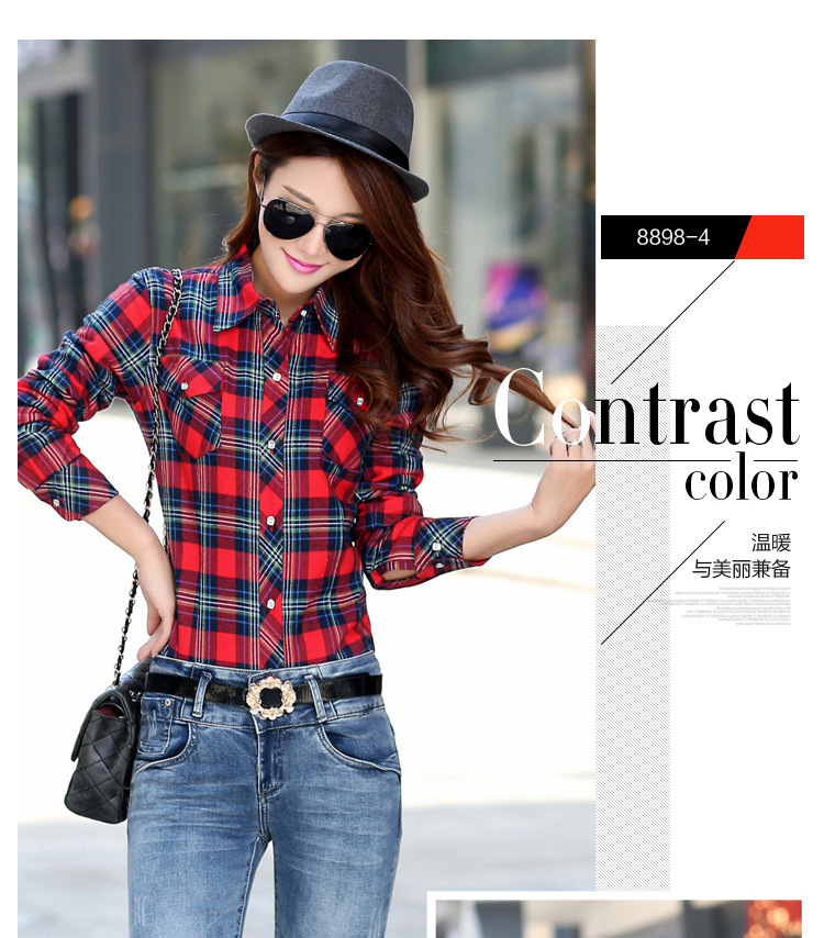 19 Brand New Winter Warm Women Velvet Thicker Jacket Plaid Shirt Style Coat Female College Style Casual Jacket Outerwear 9