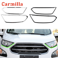 For Ford New Ecosport 2018 2019 Accessories LHD RHD 2x Car Front Headlight Cover DRL Light Frame Sticker