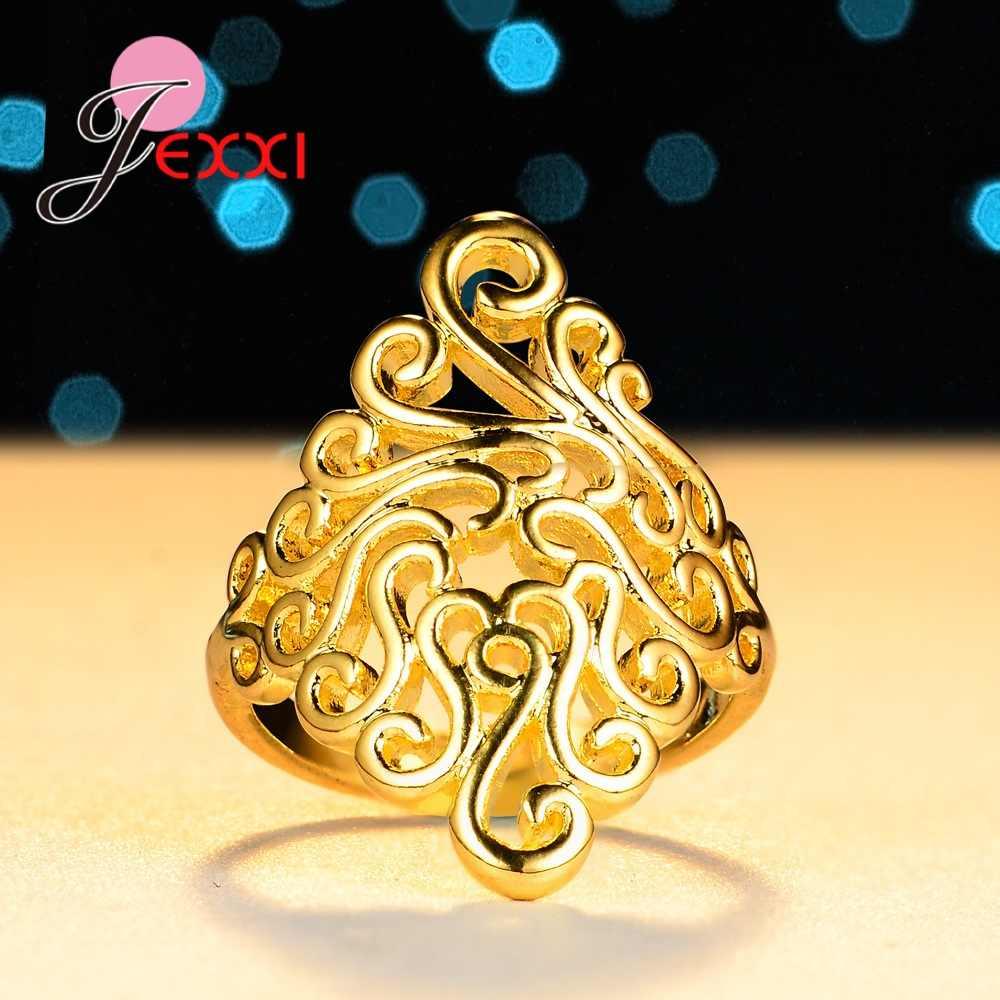 Personnalité forme Design anneaux pour belles femmes femme assez bon cadeaux réel 925 pur argent Sterling brillant strass