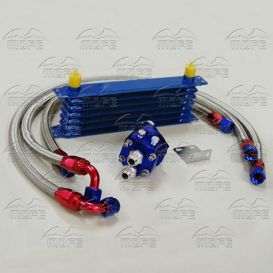 MOFE AN10 Engine Transmission 7 Row Oil Cooler Kit With Oil Filter Relocation Kit + 3 Braided Stainless Steel Oil Line Hose special offer 10an aluminum engine transmission 7 row oil cooler kits with filter relocation kit