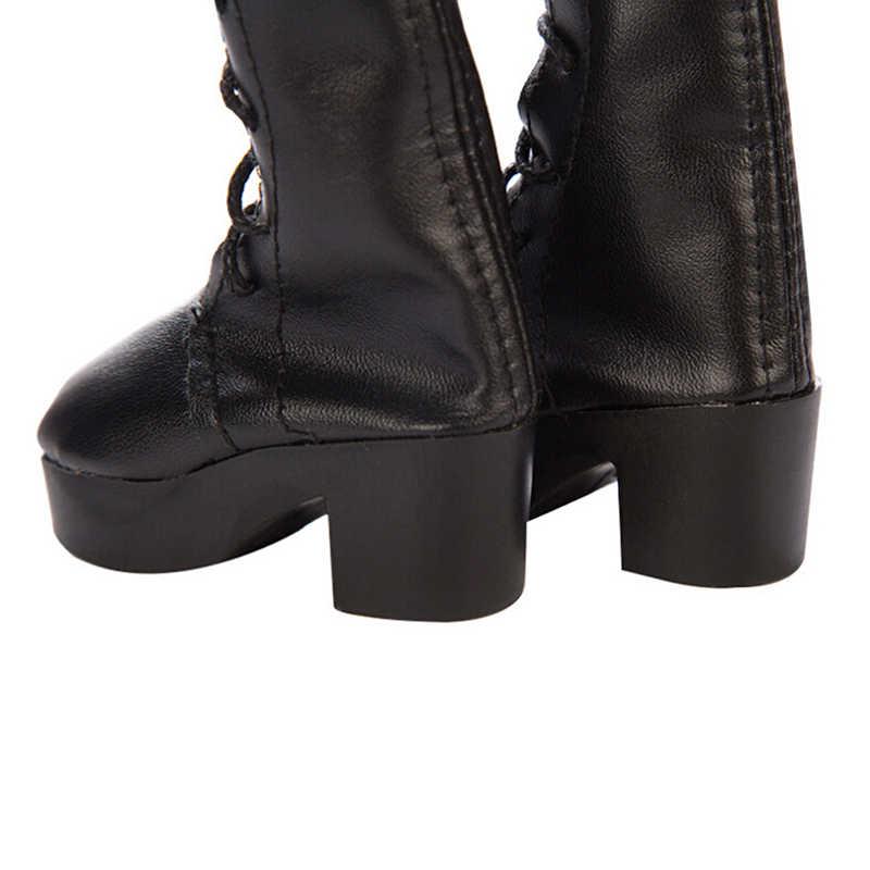 1 paar Nieuwe Mode PU Lederen Pop Schoenen Voor Pop Leuke Lange Laarzen Hoge Hak Schoen Pop Accessoires Wit Roze platte Pop Schoenen