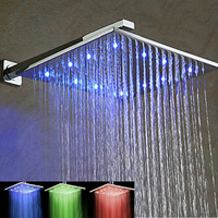 Wholesale And Retail Chrome LED ABS 12 Rainfall Shower Head Bathroom Wall Mounted With Shower Arm