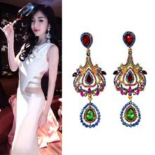 Vintage Baroque crystal Earrings for women silver color Geometric statement earring High grade earing Hanging fashion jewelry