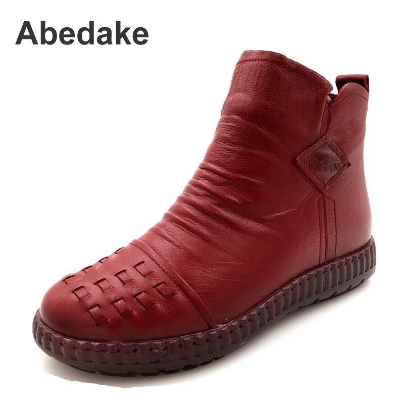 Abedake brand women boots Retro genuine leather women winter boots handmade antiskid mother casual boots plus size 35-43 ...