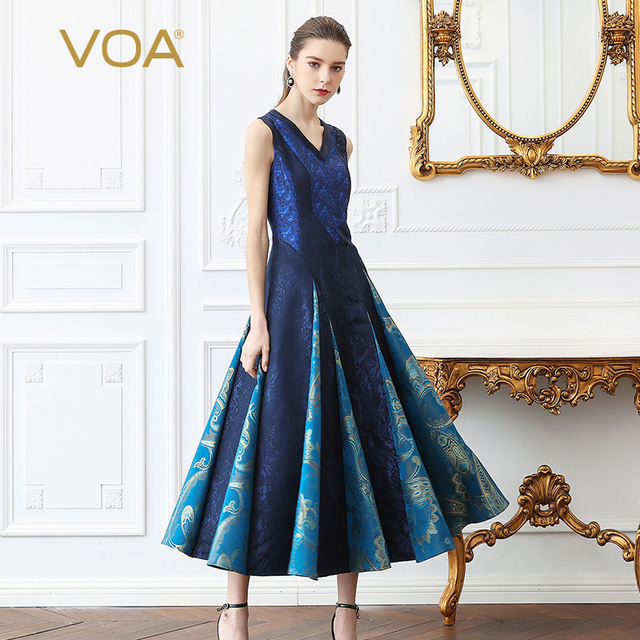 ac7cd51165f VOA Heavy Silk Sexy V Neck Women Long Dress Plus Size 5XL Pleated Dresses  Sleeveless Vintage Jacquard Summer Slim Print A379