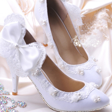 Fashion White Rhinestone Woman Wedding Shoes Woman Bridal Shoes Lady Bowtie Party Prom Shoes High Heel