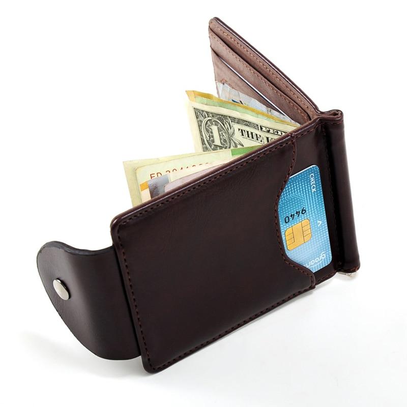 Nové příchody Pánské kožené peněženky s kartami pro držitele fotografií pro muže Pevné návrhářské peněženky s Hasp