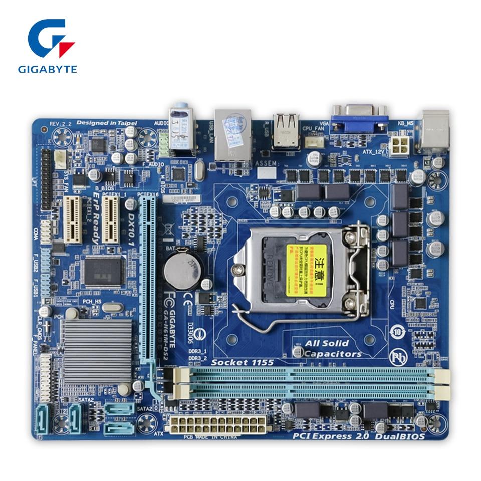 Gigabyte GA-H61M-DS2 Original Used Desktop Motherboard H61M-DS2 H61 Socket LGA 1155 DDR3 Micro-ATX On Sale original gigabyte ga 945plm ds2 desktop motherboard 945plm ds2 945pl lga 775 ddr2 micro atx 100% fully test