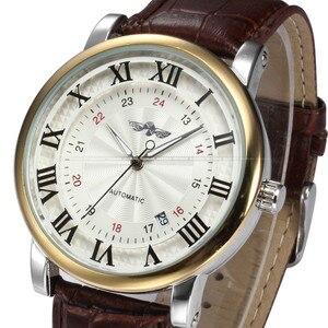 Image 2 - Rome numéro mode hommes gagnant haut marque or Sport montres auto vent automatique calendrier mécanique en cuir montre horloge