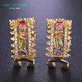Mechosen design exclusivo brincos ocos para as mulheres de luxo multicolor zirconia wedding brincos orelhas piercing jóias presente de ano novo