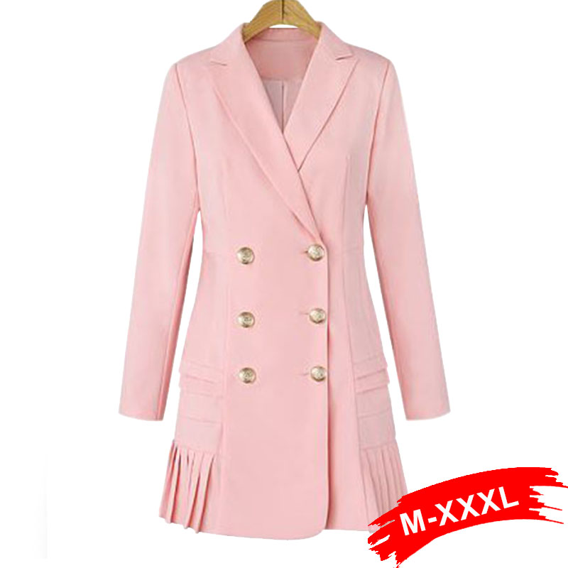 US $33.63 43% OFF|Plus Size Suit Women Long Blazer Dress Workwear Pink With  Ruffle Office Ladies Long Blaser Fall Golden Button Spring Top-in Blazers  ...