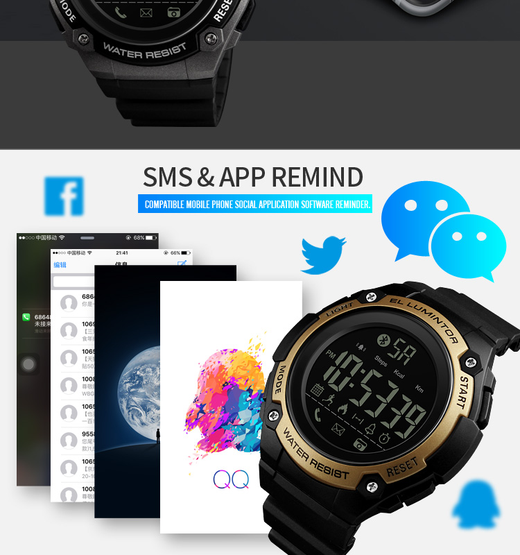 SKMEI 2019 New Bluetooth Sport Smart Watch Men Waterproof Calories Pedometer digital SmartWatch For IOS Android (9)