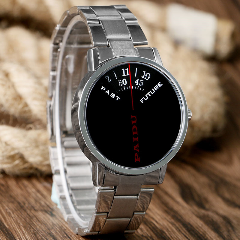 PAIDU Top Luxury Silver Men Watch Turntable Dial Past Future Remind Casual Geek Fashion Wristwatch Full Steel Male Sport Clocks