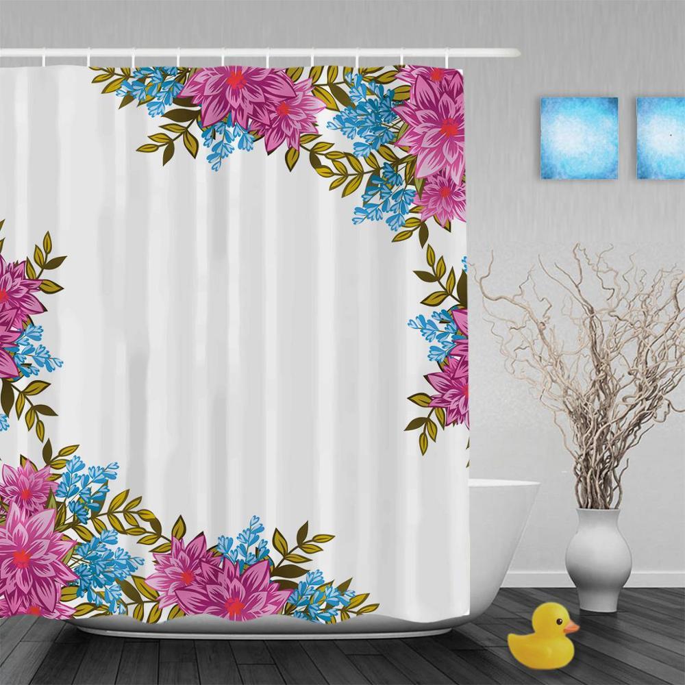 Beautiful Pink Blooming Flowers Bathroom Shower Curtains ...