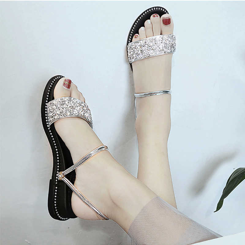 Women Shoes Sandals Women Platform Sandals Summer Slippers Crystal Bling  Glitter Shoes Korea Style Flat Sandals 1591acf0a2b3