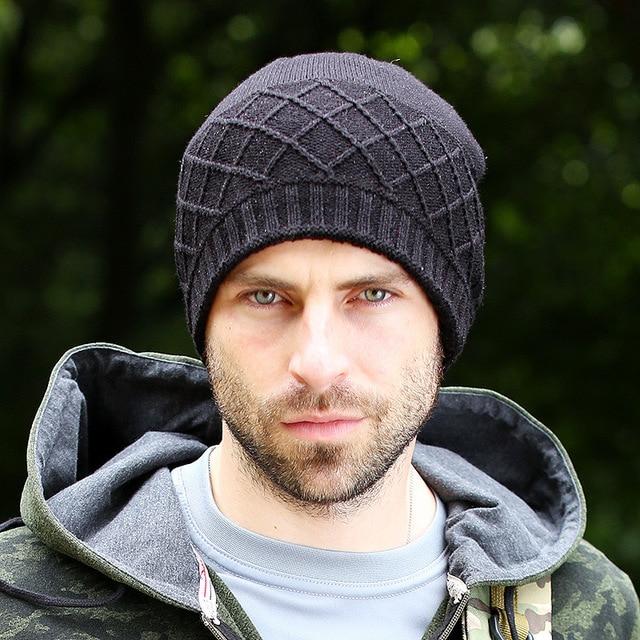 57f9e7fb3f1 New Fashion Mens Winter Hat Men Skiing Beanies Wool Caps Warm Knitted Beanie  Fleece Hats Bonnet Gorros Invierno Cappelli