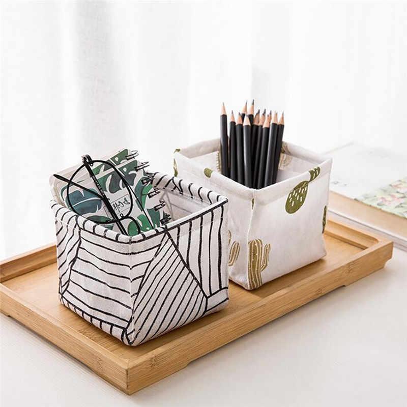 Multifunzionale Contenitore Cosmetico di Trucco di Cotone Tampone Dell'organizzatore Dei Monili Storage Box Holder E Contenitore Organizer Tessuto Cestino