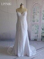 Custom Made Lace Mermaid Wedding Dresses 2018 V Neck Spaghetti Sleeveless Backless Sweep Train White Bridal