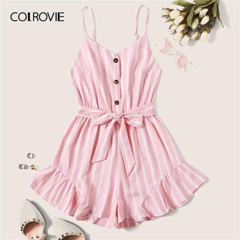 COLROVIE Pink Striped Ruffle Hem Belted Sweet Cute Cami Playsuit Women 2019 Summer Sleeveless Holiday Boho Sexy   Jumpsuit   Rompers