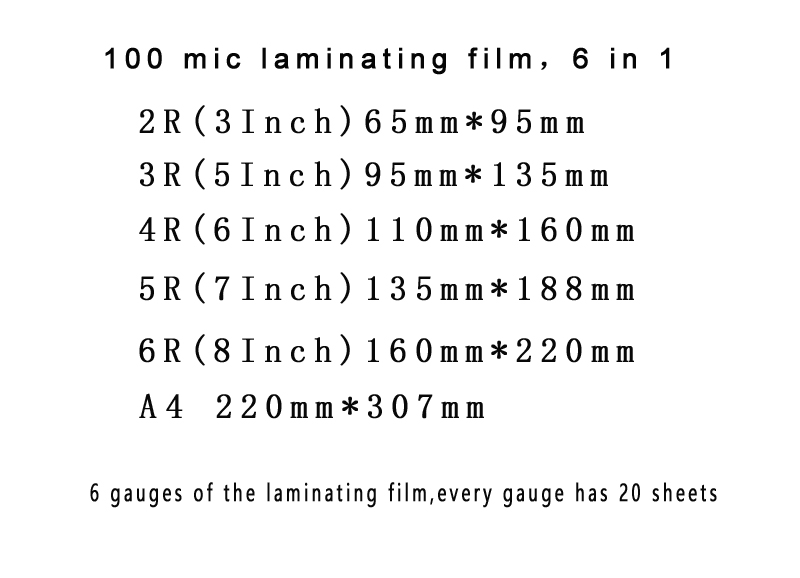 lowest price 100mic 6 Size  3inch 5inch 6inch 7inch 8inch A4 Thermal Laminating Film PET EVA Plastifieuse 120Pcs For Roll Laminator Plastic plastificadora