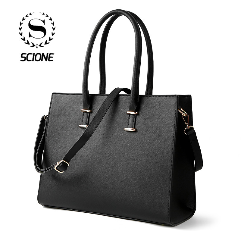 Scione Leather Briefcases Women Office Bags Women Business Bag For Women Leather Handbags Women Bags Big Capacity Shoulder