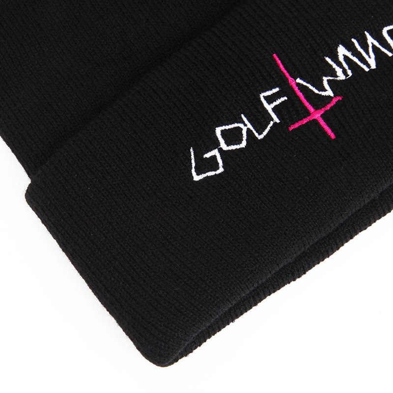 GOLF انغ قبعة التطريز إلكتروني أزياء الرجال النساء قبعة منسوجة محبوك قبعة Skullies الدافئة الشتاء للجنسين تزلج الورك هوب قبعة