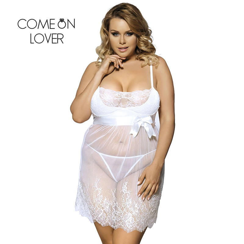 Comeonlover Sheer Mesh Laced Sexy Lingerie Dress Plus Size Sex Costumes For Women Nightwear Babydoll Lingerie Sexy RI70225