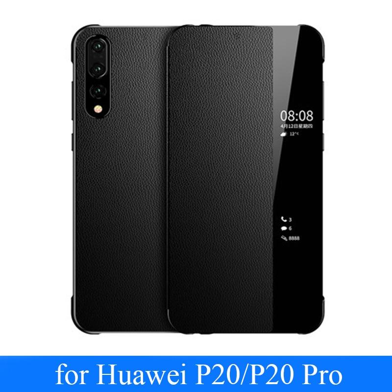Per Huawei P20 Open Window Vista di Vibrazione del Cuoio Genuino Fundas Copertura Della Pelle Intelligente On/off per il Caso di Huawei P20 pro + Protezione Dello Schermo