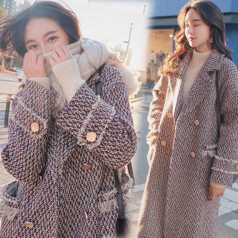 U-SWEAR Winter New Long Thick Woolen Coat Fashion Tassel Loose Slimming Woolen Coat Abrigos Mujer Invierno 2018