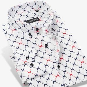 Image 1 - Argyle camisas casuales a cuadros para hombre, camisa de vestir de manga larga con cuello abotonado, 100% algodón, de alta calidad
