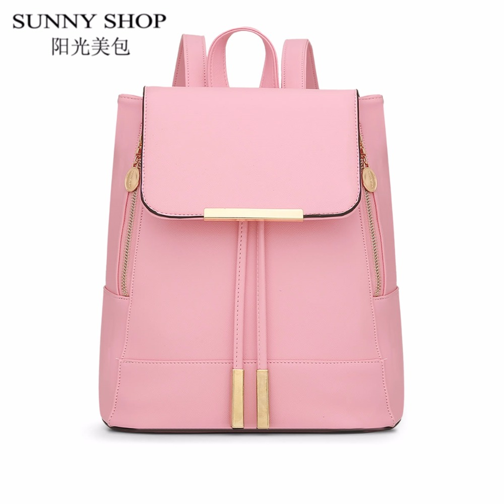 SUNNY SHOP Candy Color Leather Backpack Women Travel mochila School Bags For Teenage Girls Vintage Drawstring