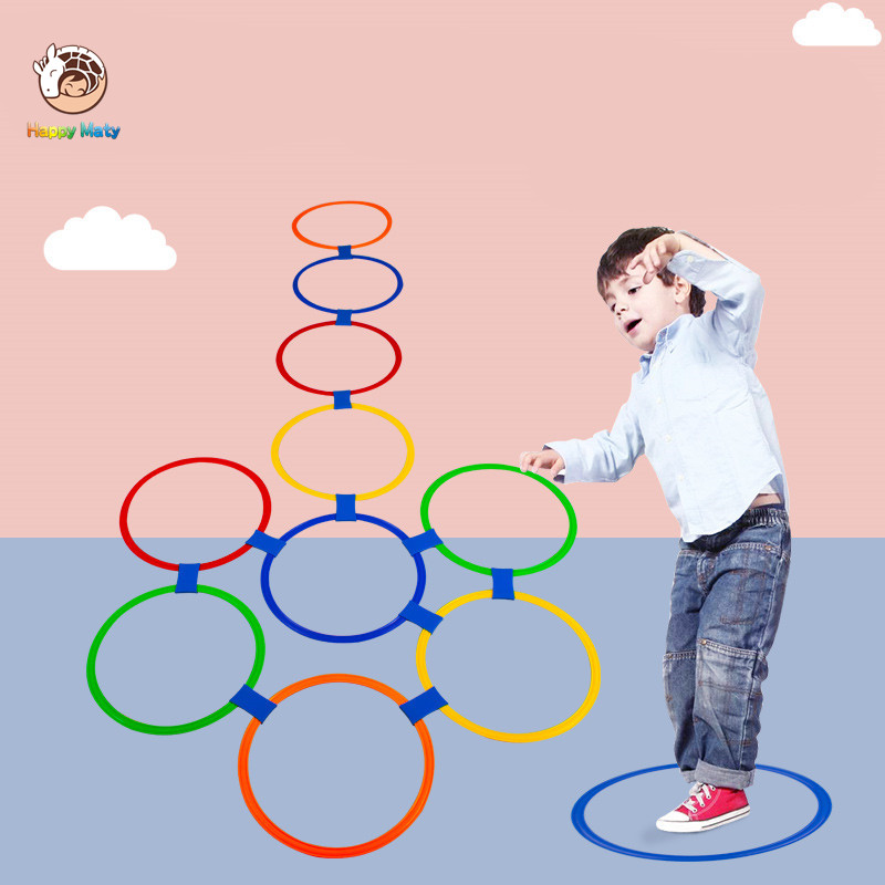 Preschool Teaching Aid Sports Toy Hopscotch Jump To The Grid Children Sensory Integration Training Outdoor Fun Games Toys Circle
