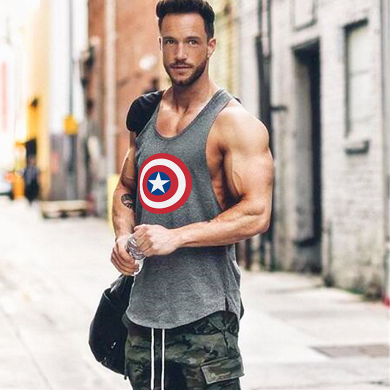 Brand Captain America gyms clothing fitness   tank     top   men singlet bodybuilding shirt debardeur homme musculation vest Sportwear