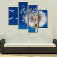 4 Pcs/Set Combined Flower Large Canvas Paintings The Dandelion In Blue Canvas Print Modern Wall Paintings Wall Art Picture