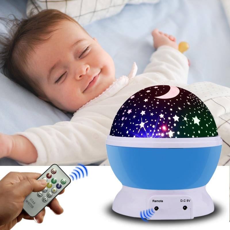 f411f8d241 LED Rotating Star Projector USB Cord Novelty Lighting Moon Sky Rotation Nursery  Night Light kids remote