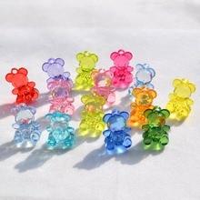 100pcs DIY Fashion Jewelry Making Department Pendant Accessory Transperant Acrylic Beads 20*15MM Cartoon Bear Mix Color