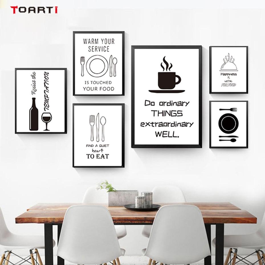 Kitchen Wall Painting Designs: Black White Minimalist Kitchen Wall Art Canvas Painting