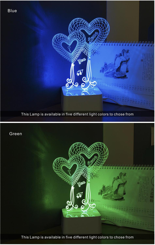 Novel USB Led Lights Loving Heart 3d Touch Home Decor Table Lamp (4)