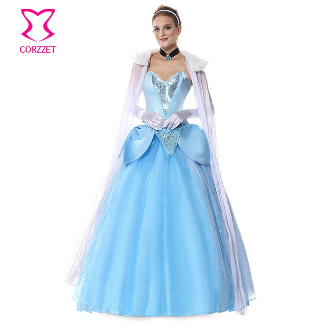 High Quality Deluxe Princess Long Gown Fancy Dress Cinderella Costume Fairy Tale Fantasy  Cosplay Anime Sexy Halloween Costumes For Women