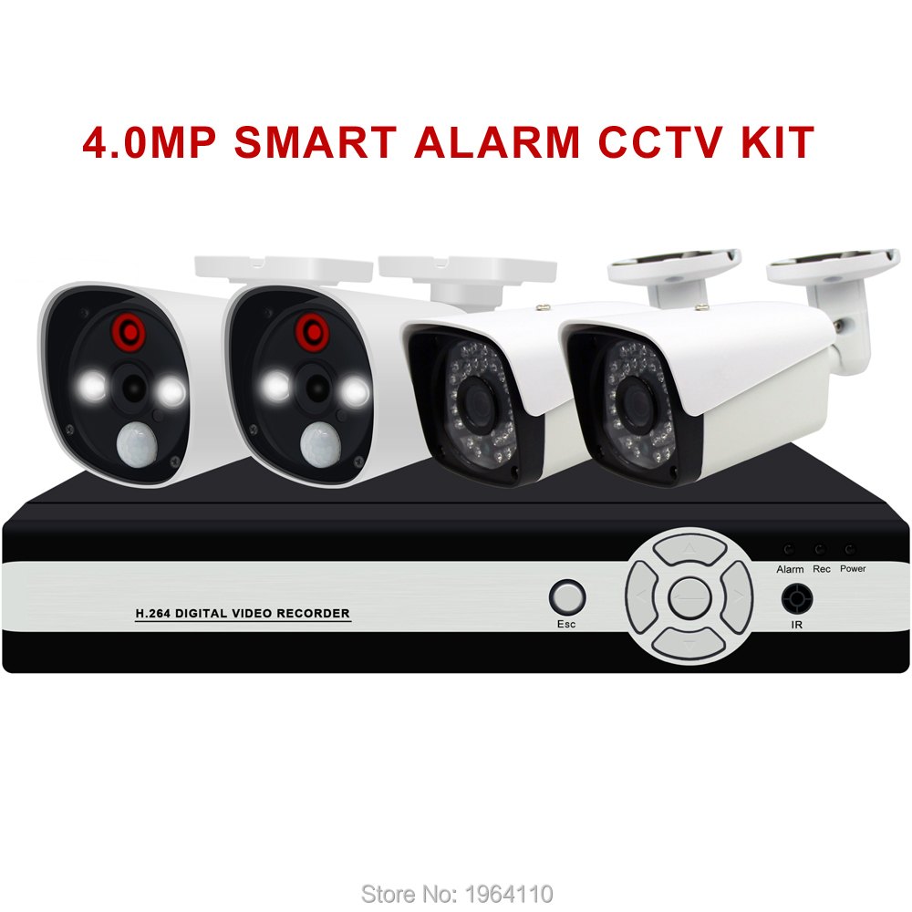 4CH Smart Alarm 4.0MP AHD CCTV KIT with PIR Sensor Motion Detect and Strong White Leds to Anti Intruder Alarm Push to Mobile APP