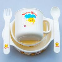 5Pcs Set Baby Learning Dishes Baby Fedding Dinner Plates Milk Cup Small Bowl Bowl Fork Spoon
